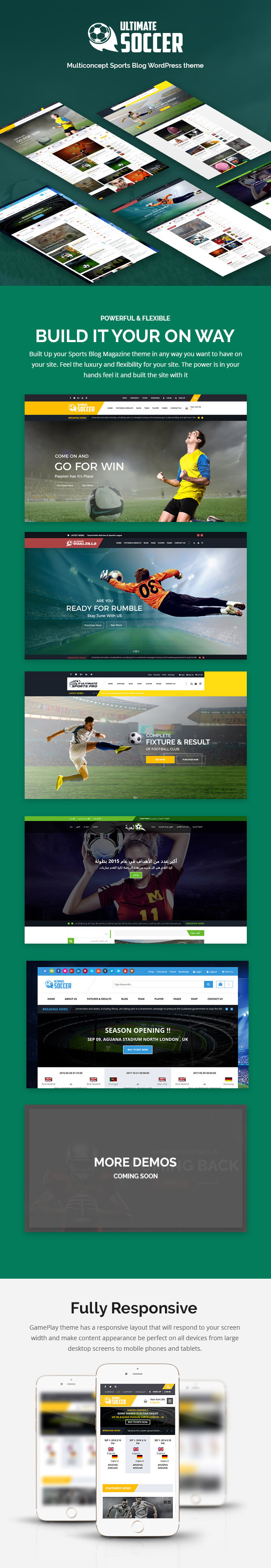 Ultimate Soccer WordPress Features